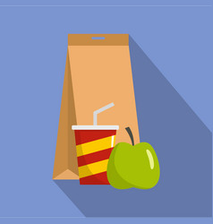 Packed lunch icon flat style vector