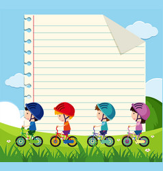 Paper template with kids cycling in the park vector