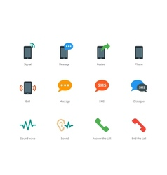 Phone colored icons on white background vector image