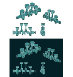 Piston group with crankshaft color blueprints vector