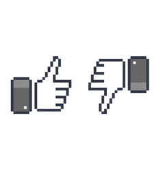Pixel thumb up 8 bit icon like and dislike vector