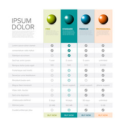 Products features list table vector
