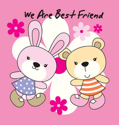 rabbit and bear with flower background vector image