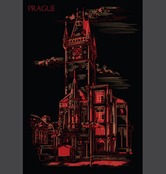 red hand drawing prague 6 vector image