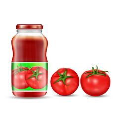 Red tomatoes and jars with vector