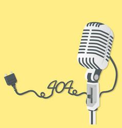 retro microphone with 404 error vector image