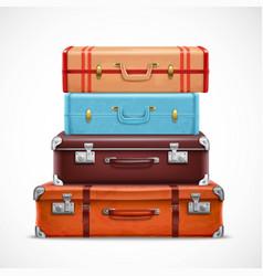 Retro travel luggage suitcases realistic set vector