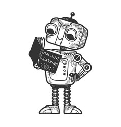 robot child with book sketch engraving vector image