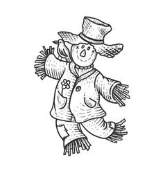 scarecrow sketch engraving vector image