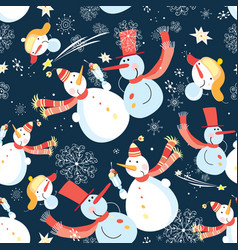 seamless graphic pattern christmas snowman vector image
