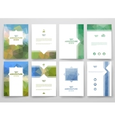 Set of brochures in poligonal style on Agriculture vector