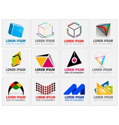 Set twelve abstract icons for business branding vector