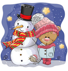 Snowman and cute cartoon teddy bear girl vector