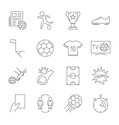 Soccer icons set editable stroke vector