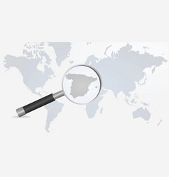 spain map in magnifying glass vector image