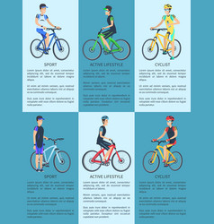 Sport cyclist and active lifestyle set of posters vector