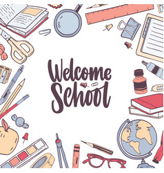 Square card template with welcome school lettering vector