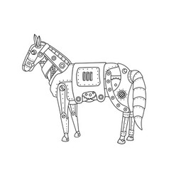 steam punk horse coloring book vector image