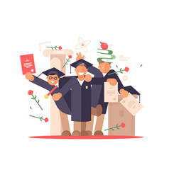 students happy at graduation ceremony vector image