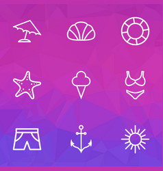 summer icons line style set with shorts starfish vector image