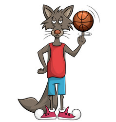 Sweet wolf plays in a basket vector
