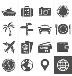 Travel and tourism icon set simplus series vector