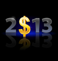 Twenty thirteen year dollar sign on black vector