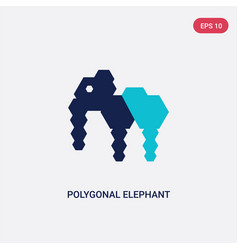two color polygonal elephant icon from geometry vector image
