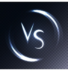 Versus letters luminous logo Neon V and S flat vector