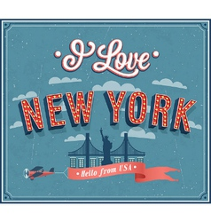 Vintage greeting card from New York - USA vector image