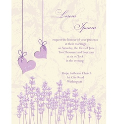 Wedding invitation card Lavender background vector