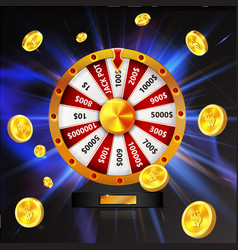 Wheel of luck with gold coins object isolated on vector