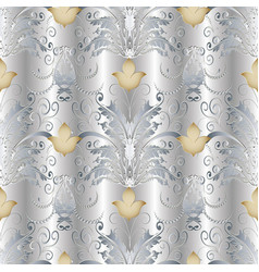 white gold baroque seamless pattern vector image