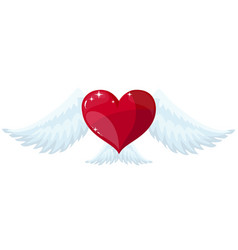 winged heart flying in the sky vector image