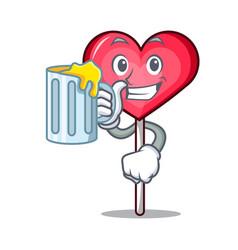 With juice heart lollipop mascot cartoon vector