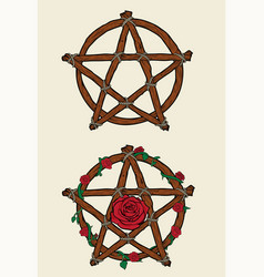 Wooden pentacles and roses vector