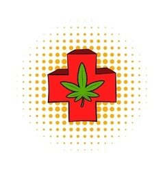 Marijuana leaf on a red cross icon comics style vector image vector image