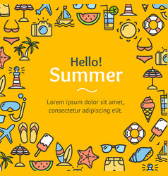 summer time round design template line icon vector image vector image