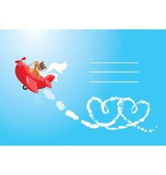 Teddy bear aviator in love vector image vector image