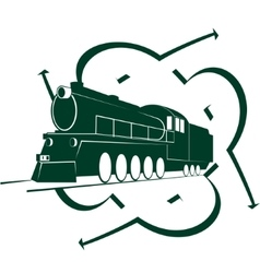 Abstract icon with an old locomotive-2 vector image vector image