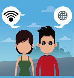 couple wifi connection social media urban vector image