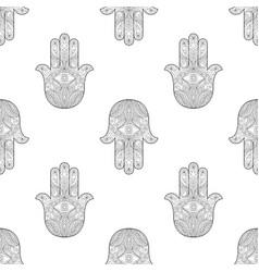 Hand of fatima seamless pattern vector