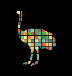 ostrich bird color silhouette animal vector image vector image