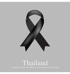 Black ribbon mourning sign for Thailand sad news vector image