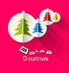 Christmas Pink Card with Merry Christmas Title and vector image vector image