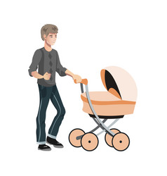 father with toddler in the pram vector image