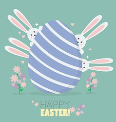 Happy easter with bunnies and easter egg vector image vector image