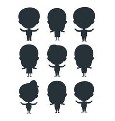 kids silhouette happy young expression cute vector image vector image