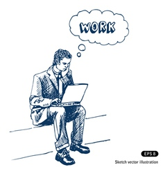 Man sitting on step with laptop vector image vector image