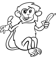 monkey with banana coloring page vector image